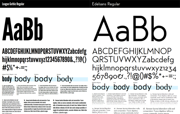 League Gothic and Edelsans typefaces